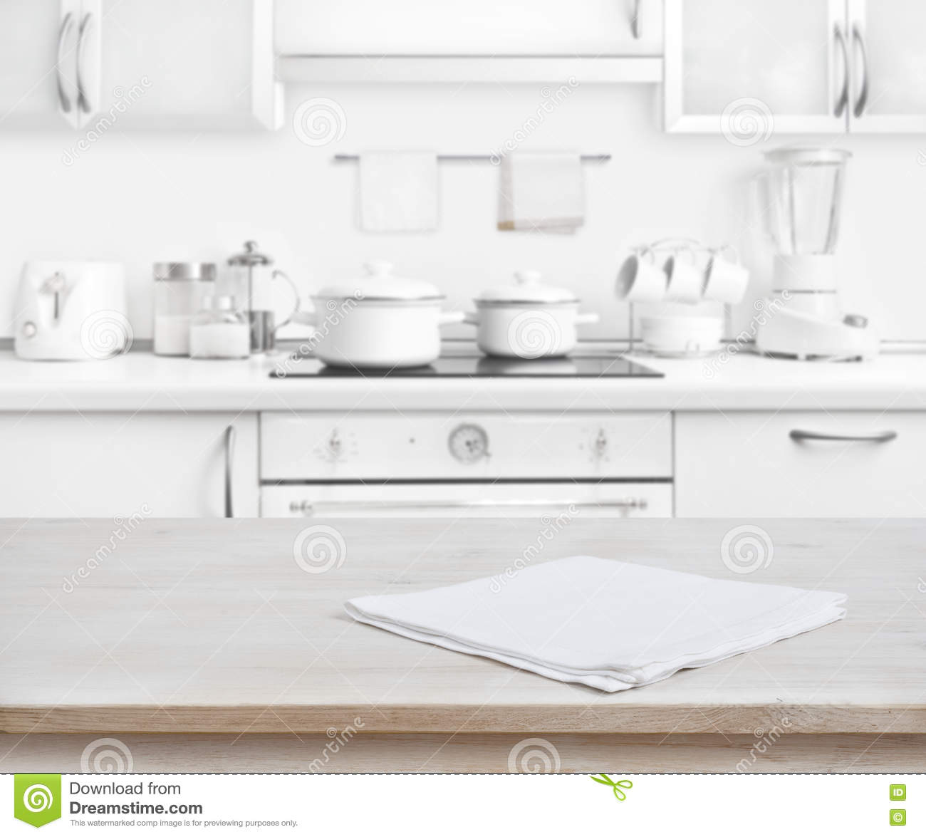 Kitchen Background Image: White Towel On Wooden Table Royalty-Free Stock Photo