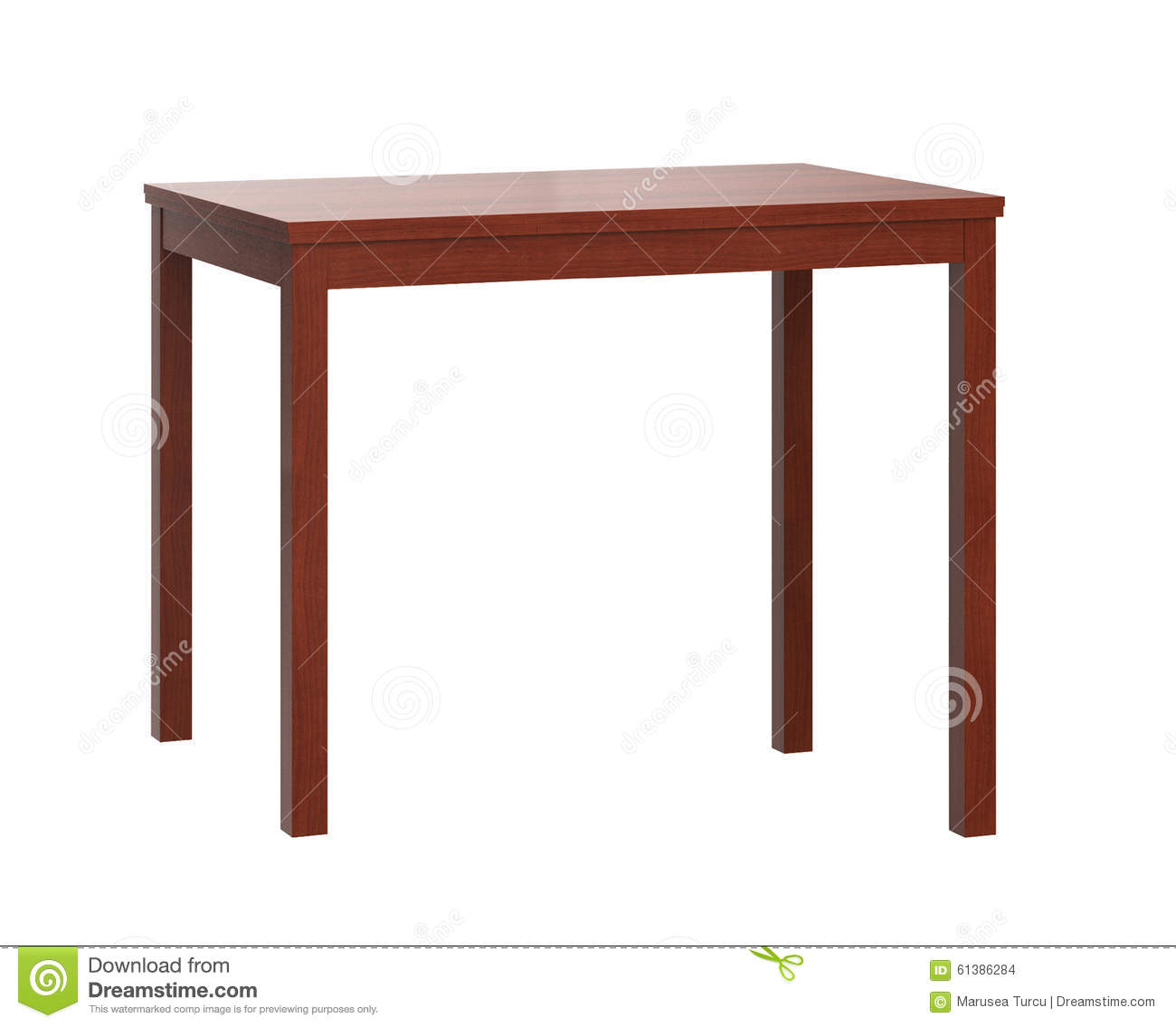 Wooden Table On White Background Stock Photo - Image: 61386284