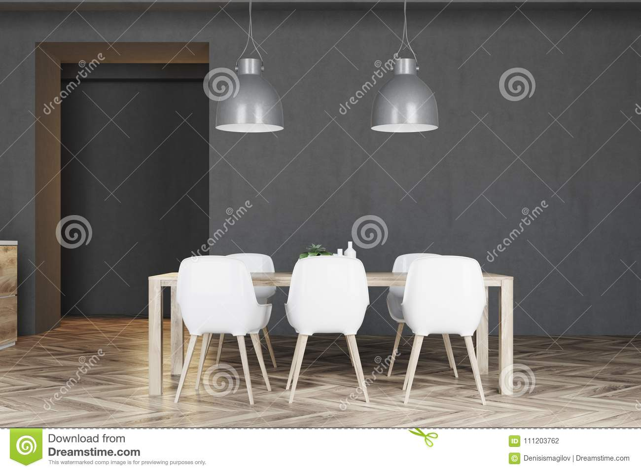 Marvelous Wooden Table With White Chairs Stock Illustration Inzonedesignstudio Interior Chair Design Inzonedesignstudiocom
