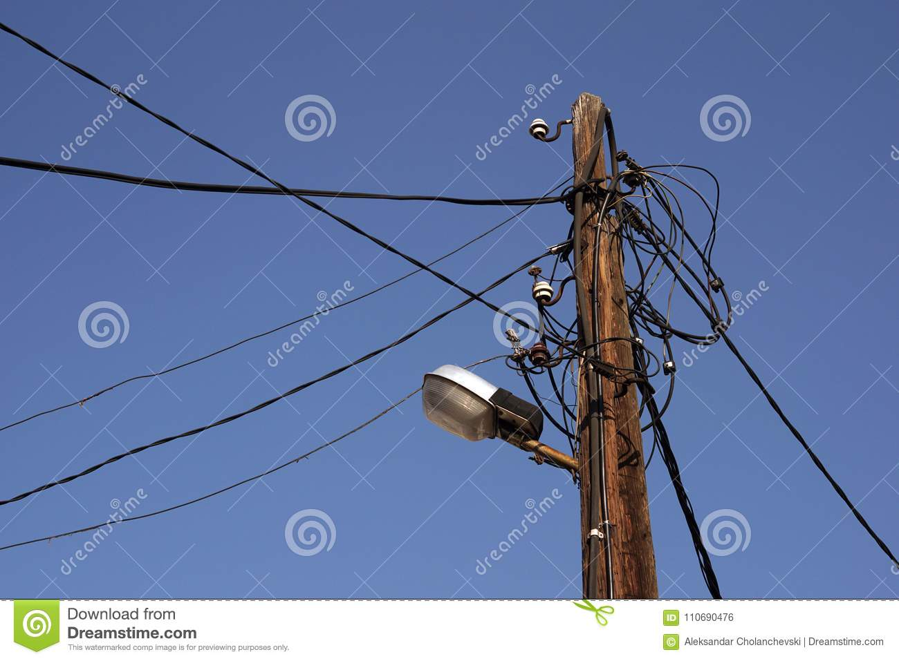 Old Wooden Telegraph Pole Stock Photo Image Of Background 110690476 Wiring A Lamp With Street Closeup On Blue Sky