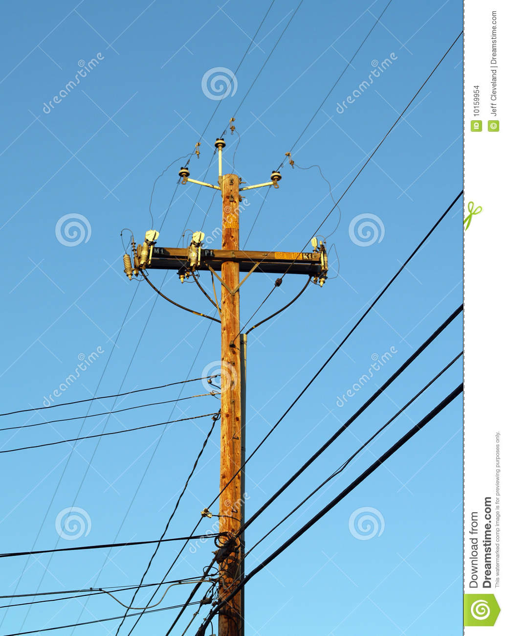 wooden telephone pole power pole against blue sky stock clipart telephone pole Utility Pole