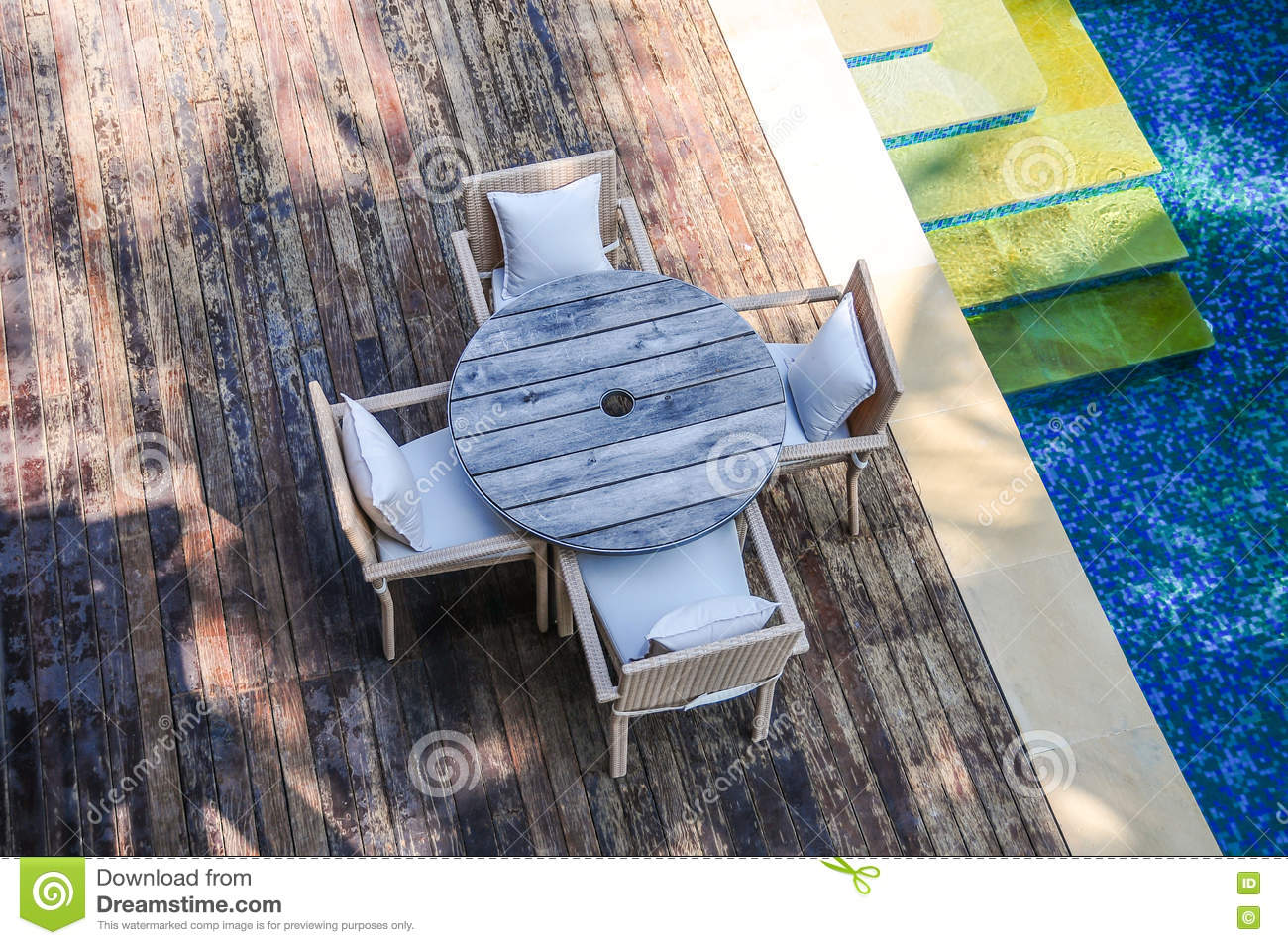 Wooden Terace of tropical resort poolside