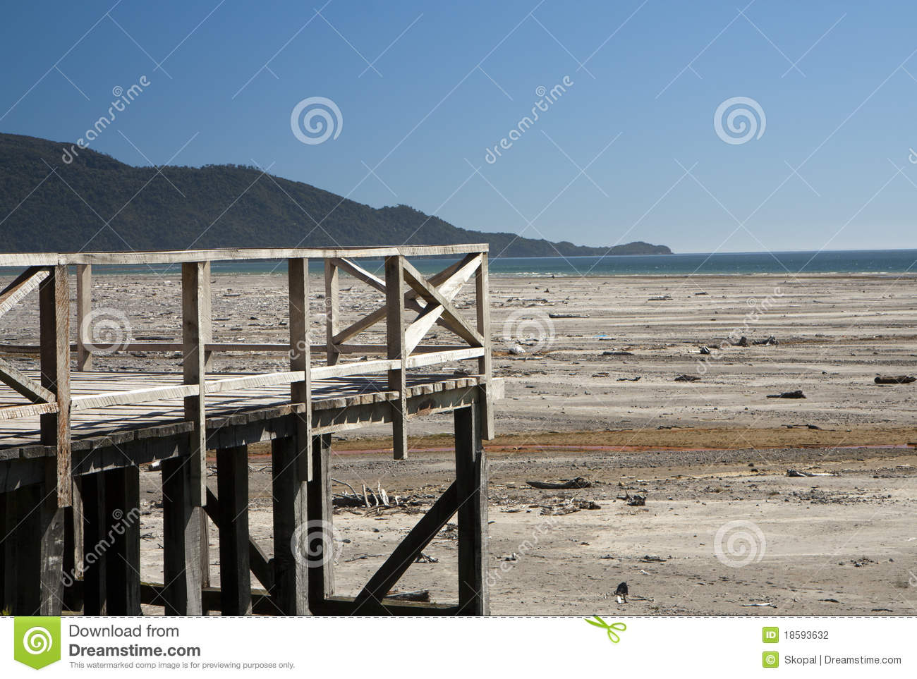 Wooden Terrace On A Beach Stock Photo Image Of Tide 18593632
