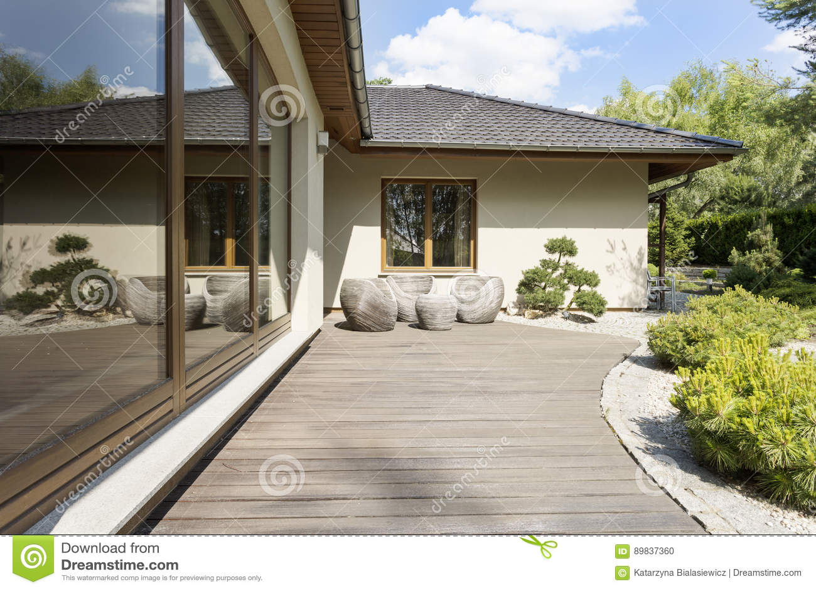 Wooden Terrace By Suburban Villa Stock Photo Image Of