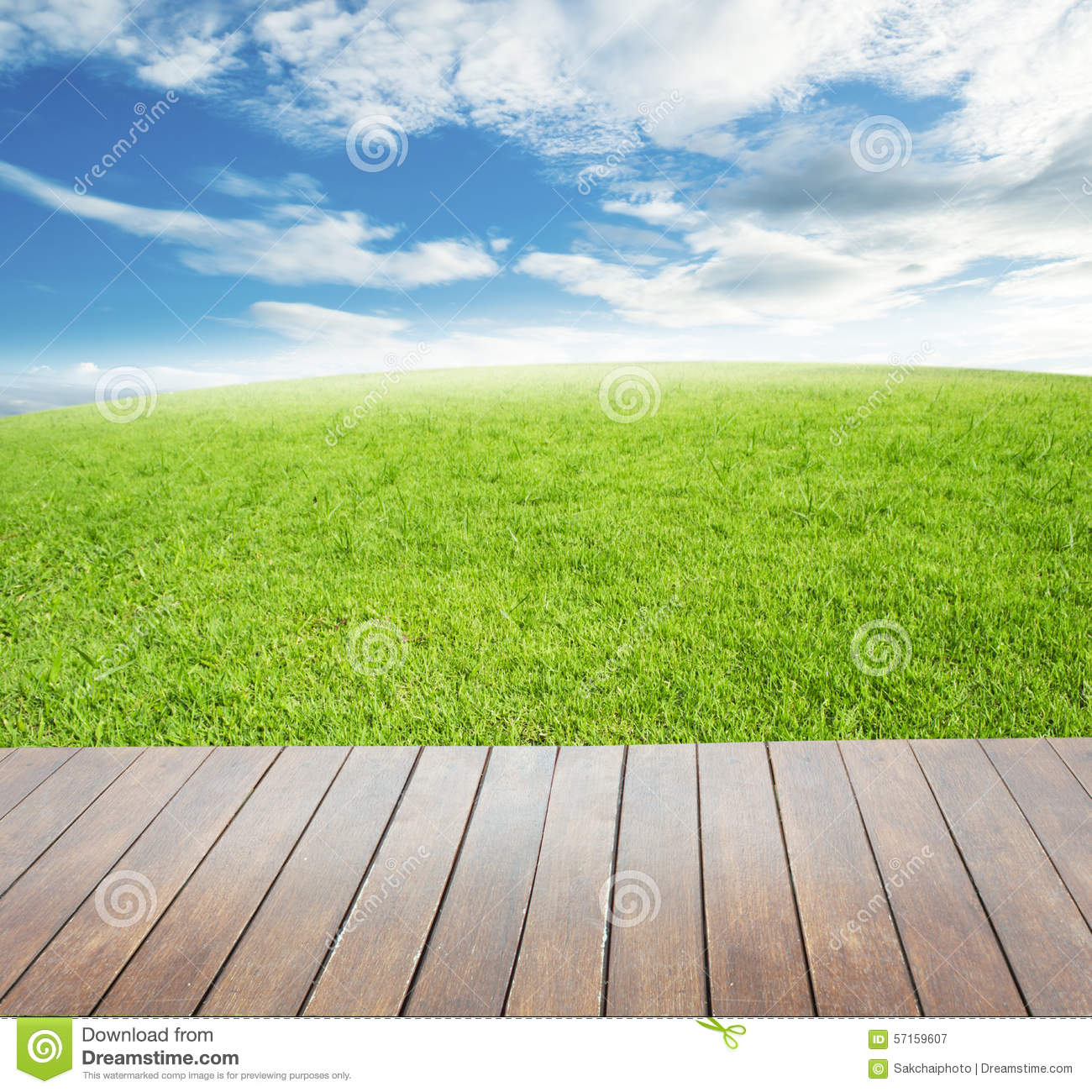 Wooden terrace with views of nature green grass field for Terrace nature