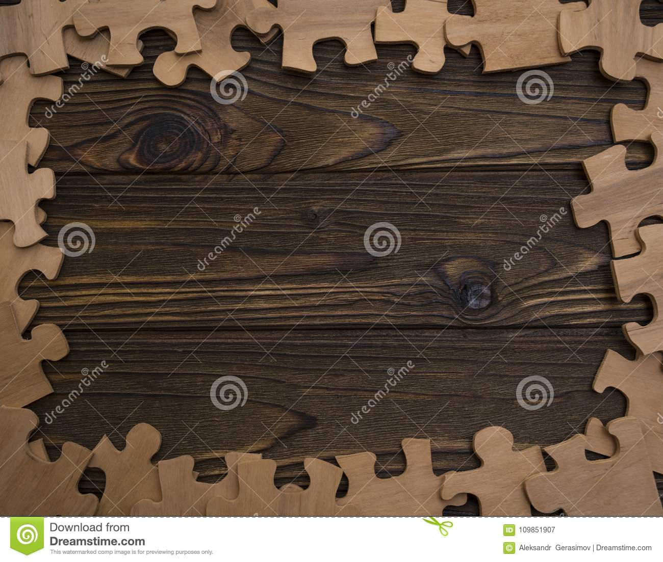 Wooden Texture In A Frame Of Puzzle Pieces Stock Image Image Of