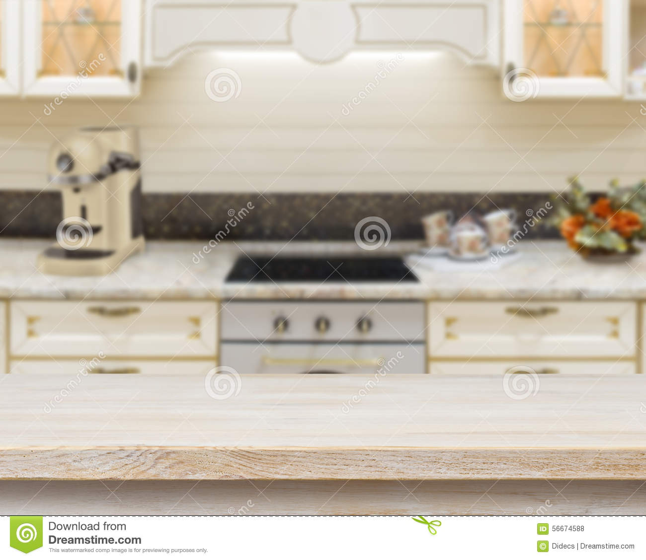 Kitchen Background Image: Wood Texture Table On Kitchen Bench Background Royalty