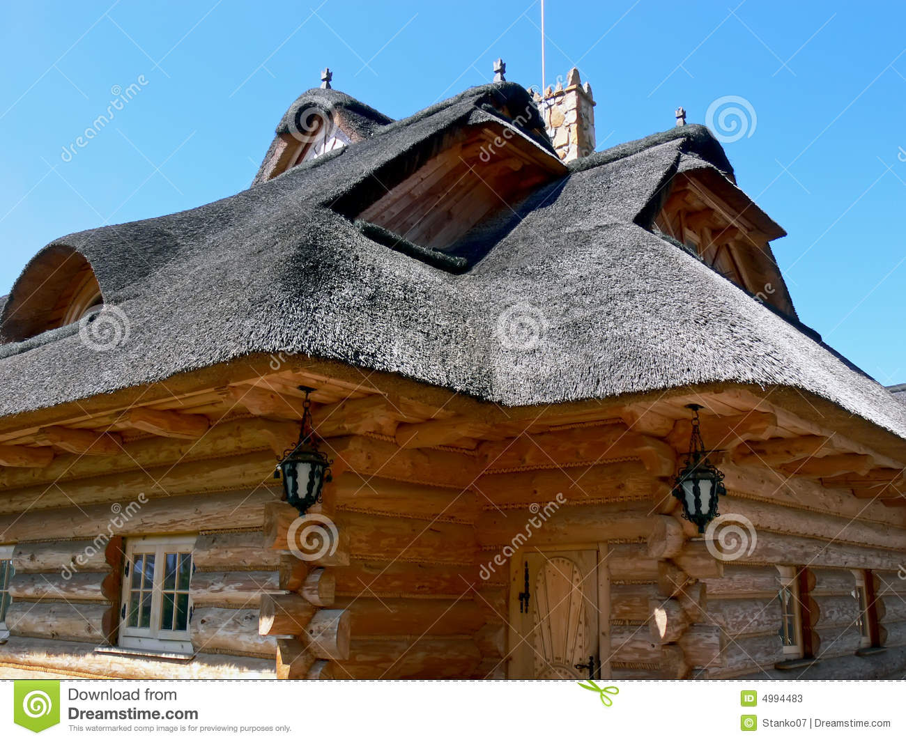 wooden thatched house close up stock photos image 4994483