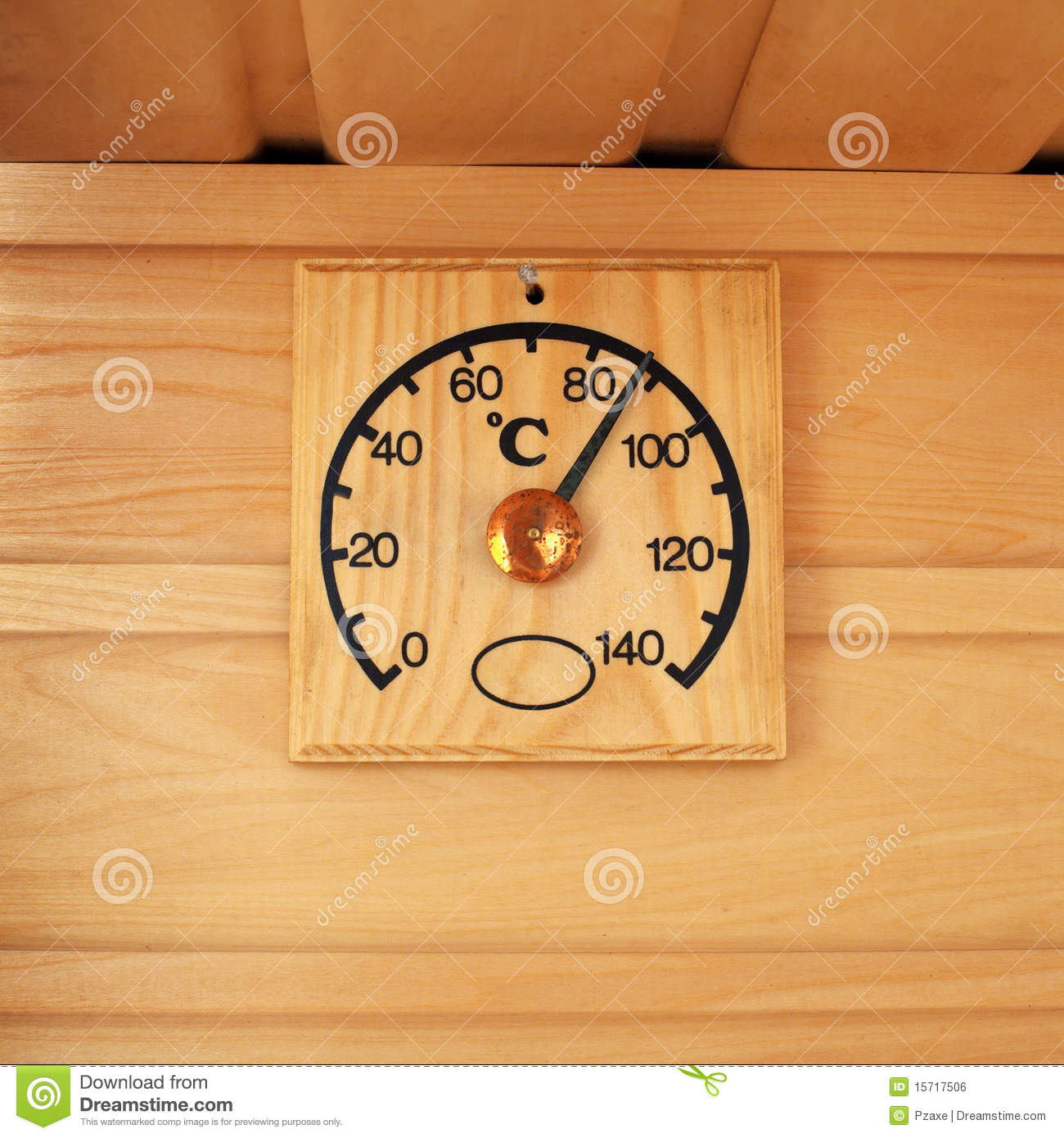 Wooden Thermometer Temperature In Sauna Royalty Free