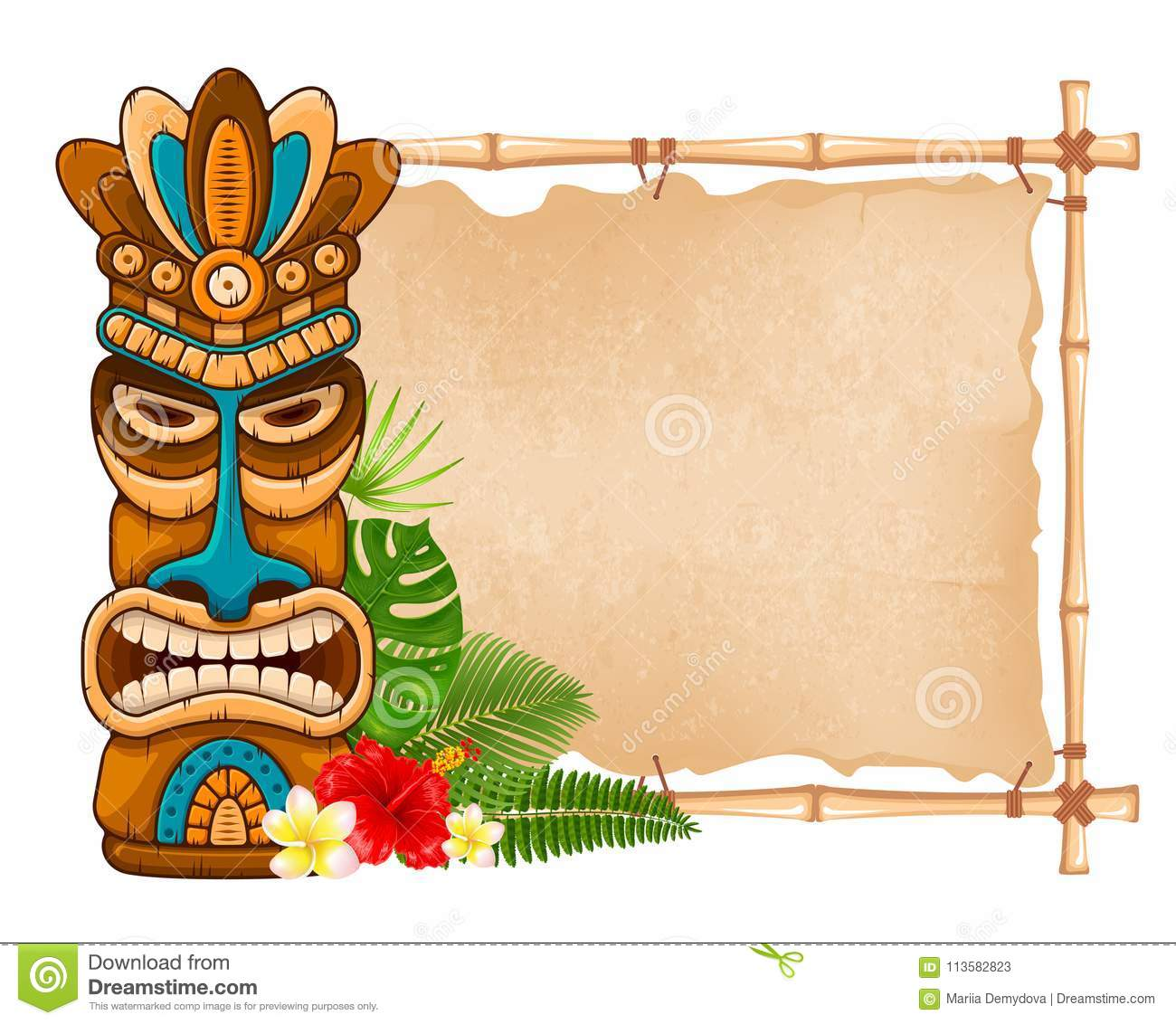 Wooden Tiki mask and bamboo signboard