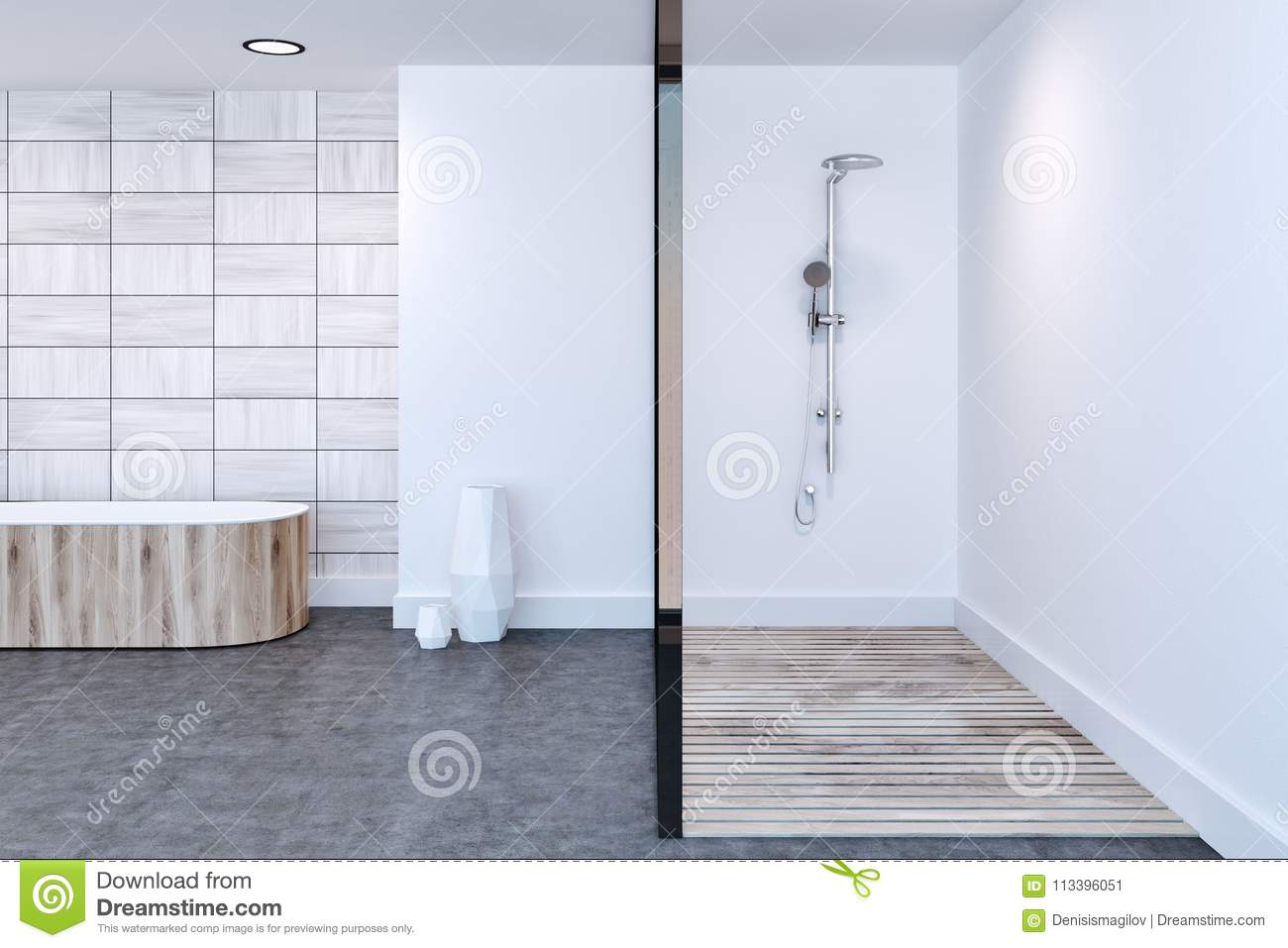 Surprising White Tiled Bathroom Shower And Tub Stock Illustration Download Free Architecture Designs Jebrpmadebymaigaardcom