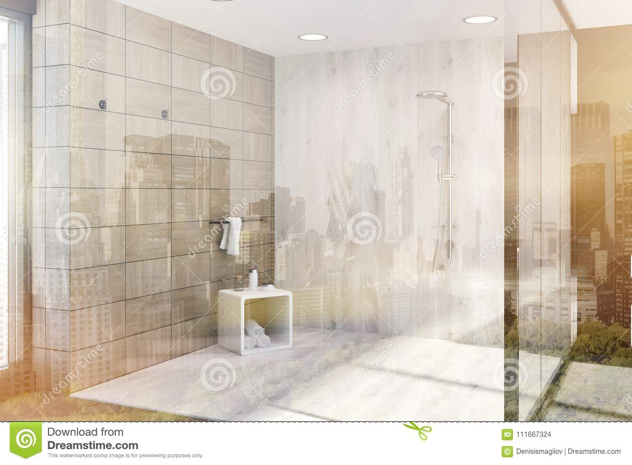 Wooden Tiles Brown Bathroom Corner, Shower Toned Stock Illustration ...
