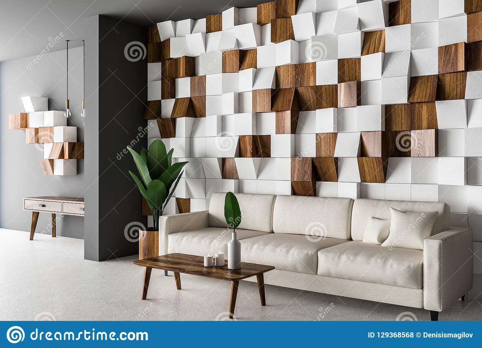 wooden tiles living room corner white sofa tiled wall concrete floor coffee table d rendering image