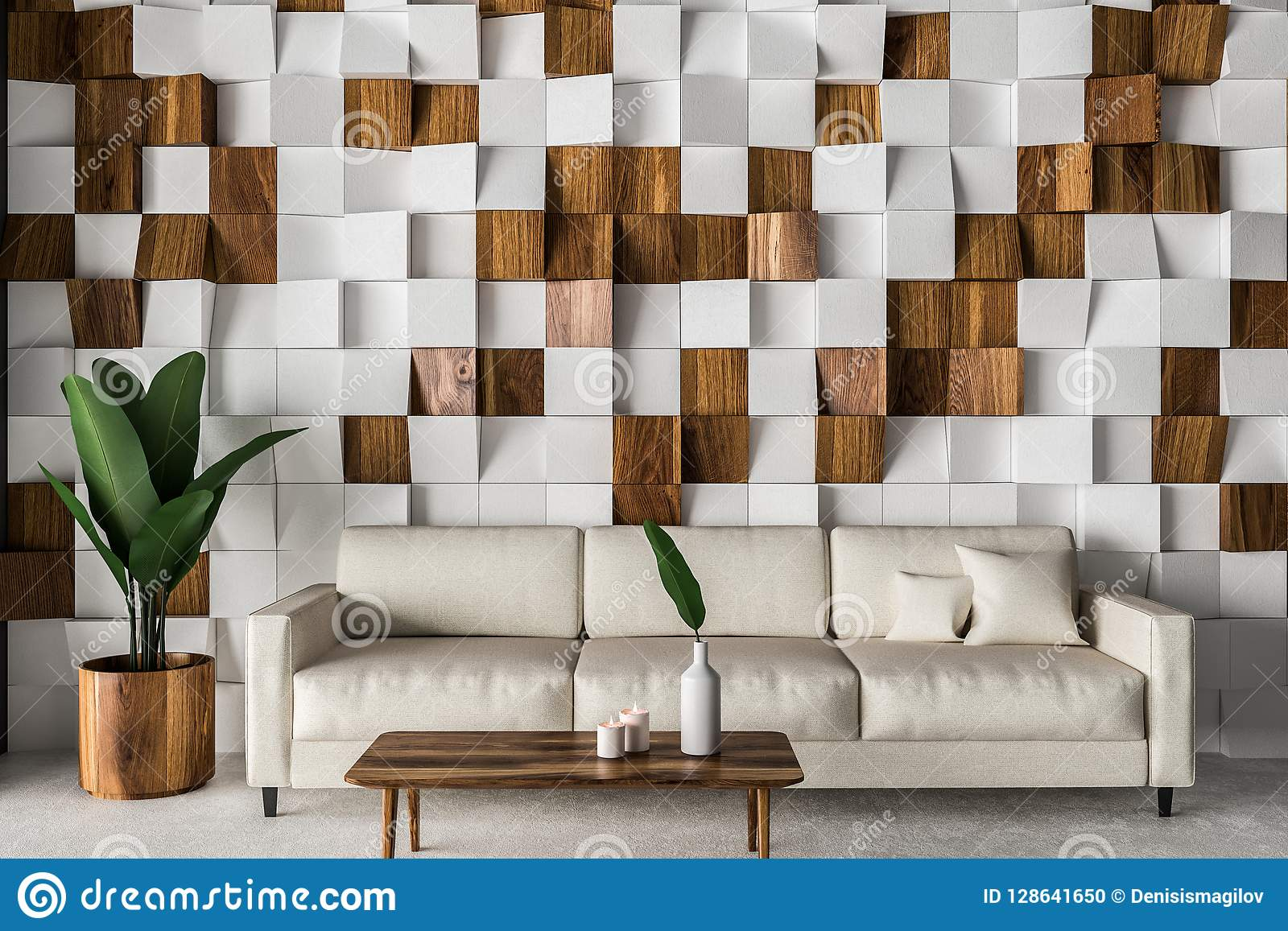 wooden tiles living room interior white sofa tiled wall concrete floor coffee table d rendering image