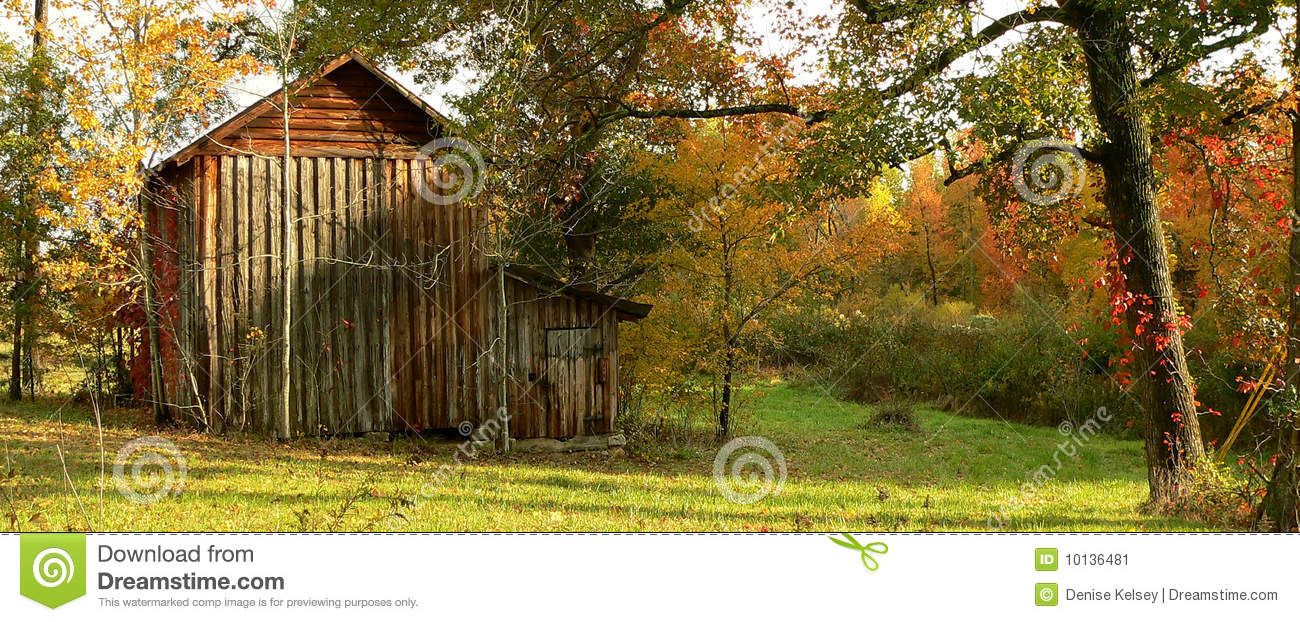 Wooden tobacco barn with fall color stock image image for Tobacco barn house plans