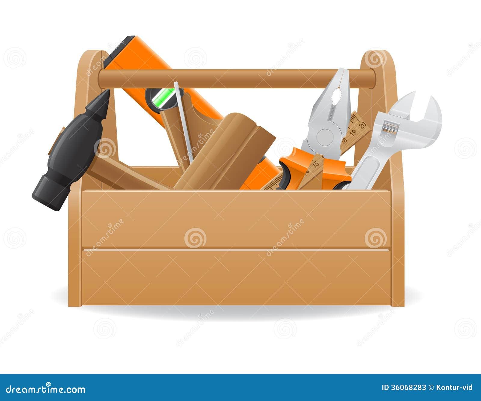 Wooden Tool Box Vector...