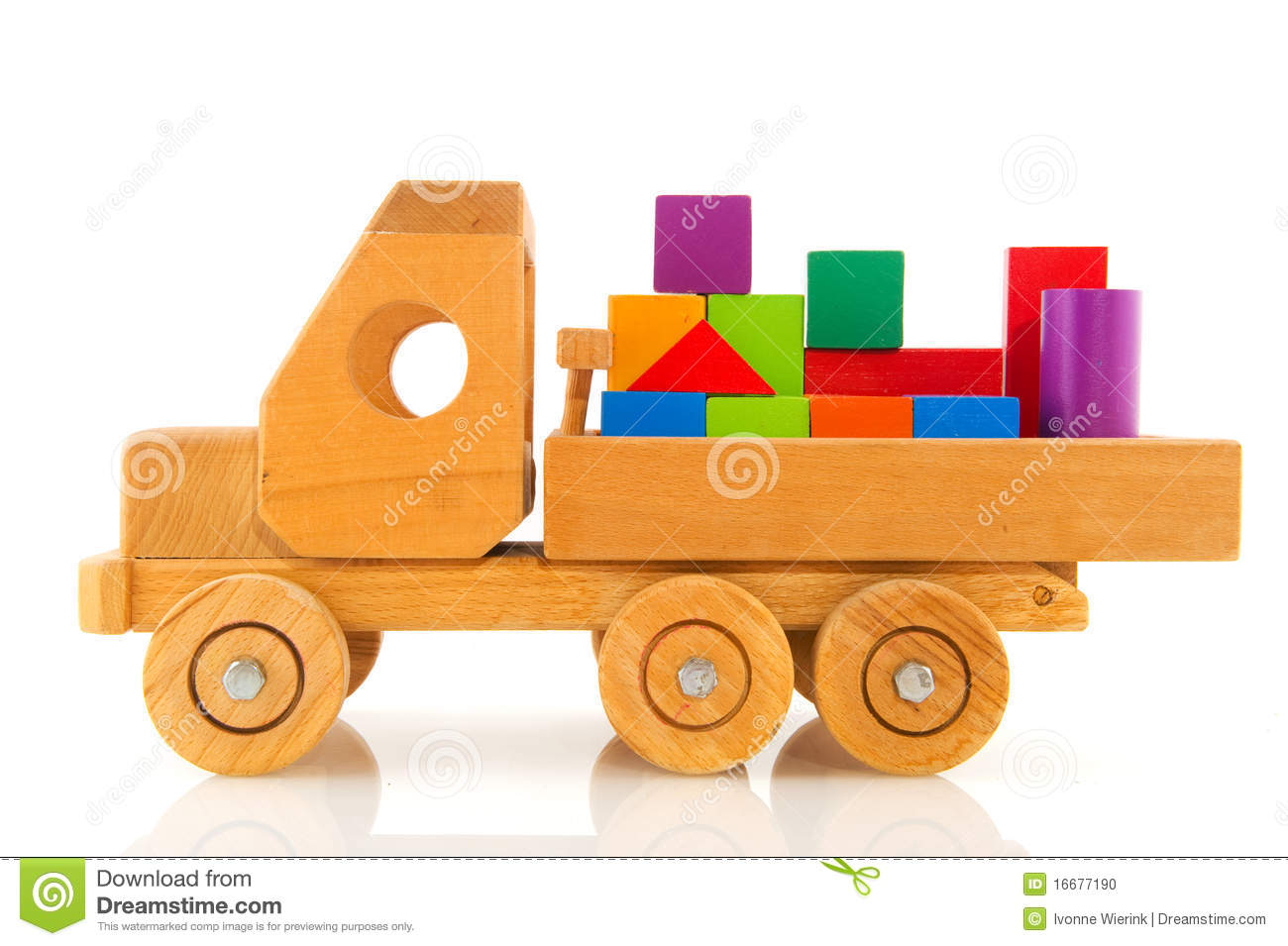 Wooden Toy Car With Colorful Blocks Stock Photo - Image ...