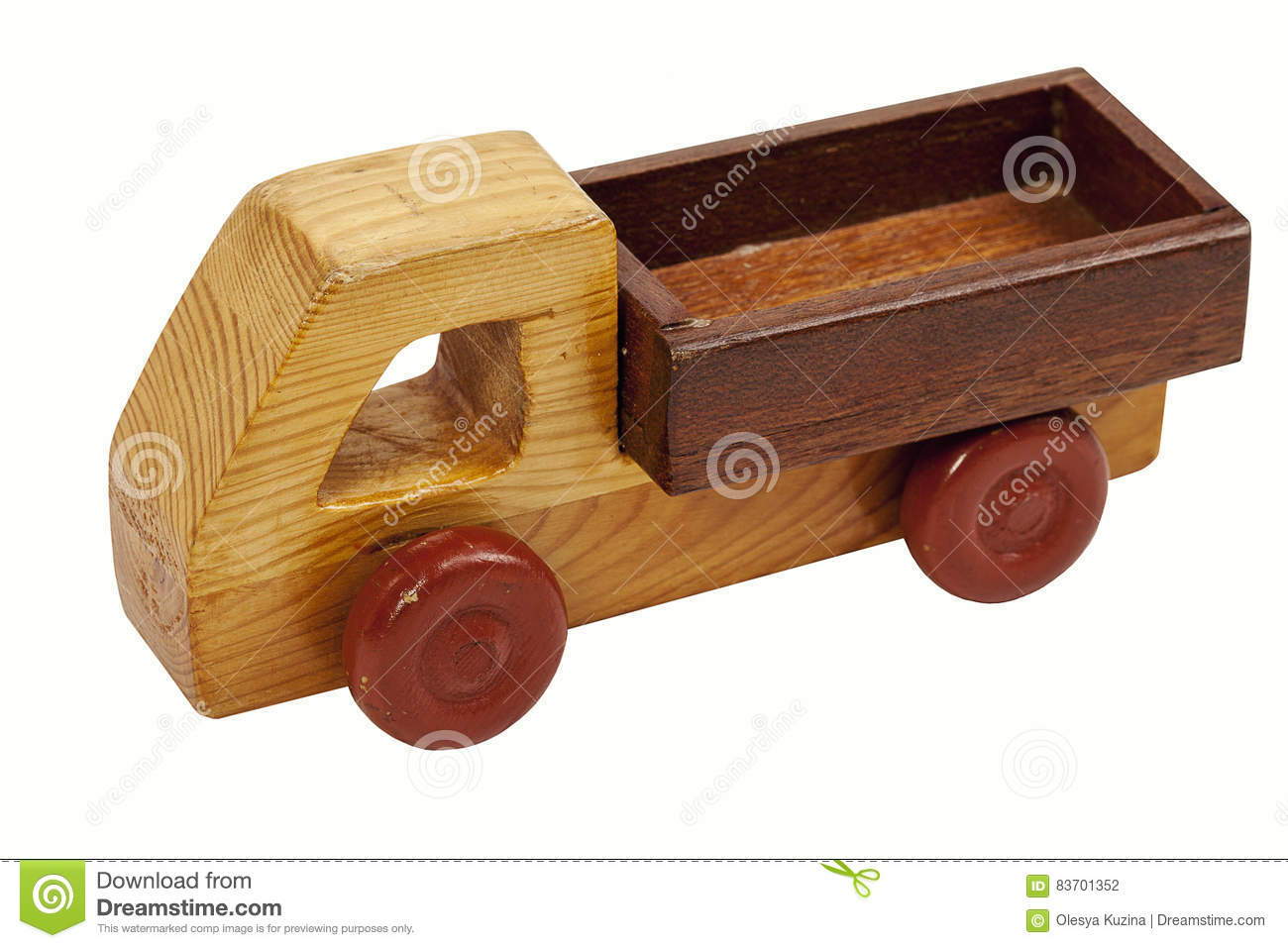 Wooden Toy Car On A White Background Stock Photo