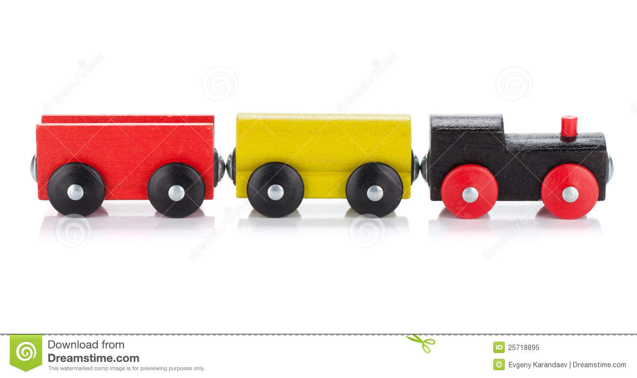 Wooden toy colored train. Isolated on white background.