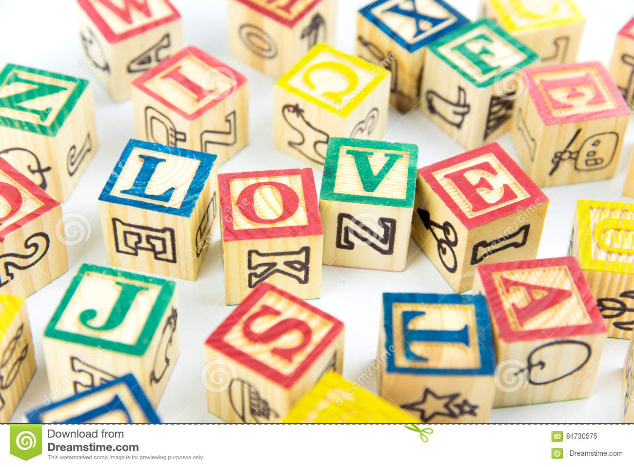 Wooden Toy Cubes Are Used To Create The Word Lovelove Concept O
