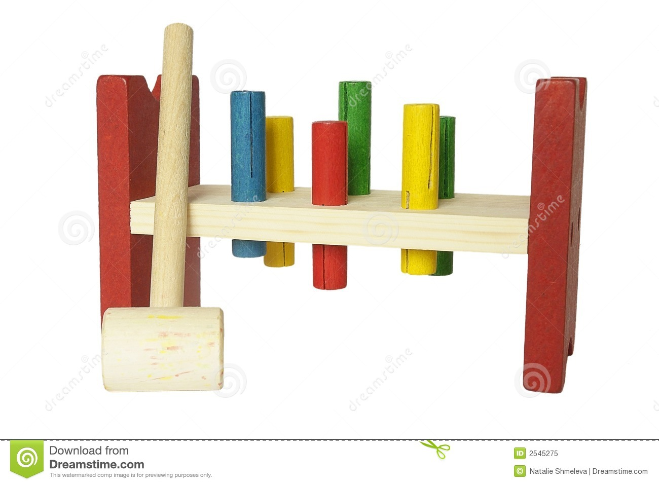 Wooden Toy Hammer And Nails Royalty Free Stock Photo ...