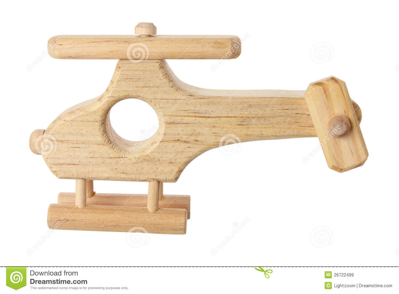 Wooden Toy Helicopter on White Background.