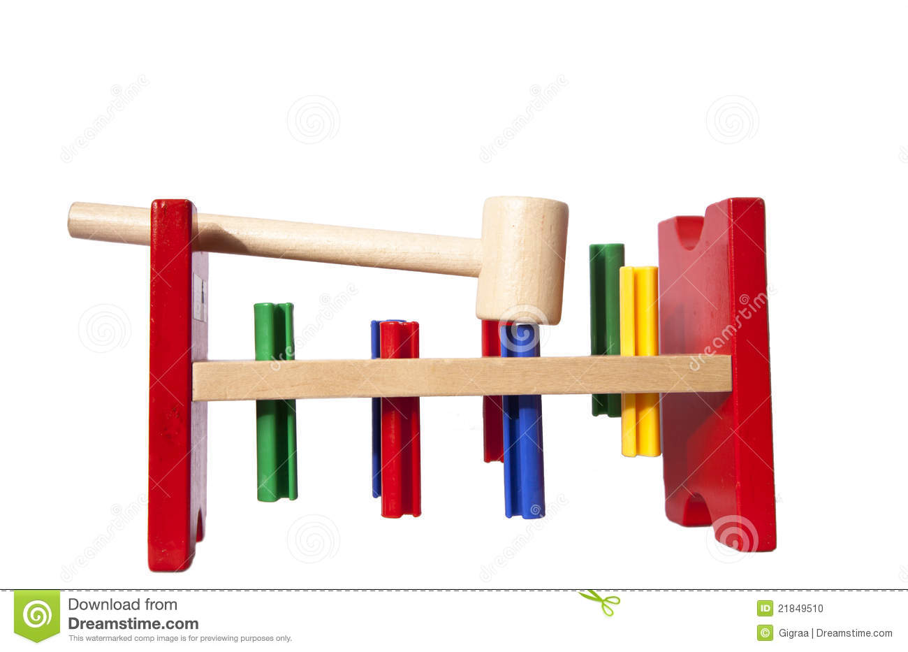 Wooden Toy For Kids With Hammer Stock Photo - Image: 21849510