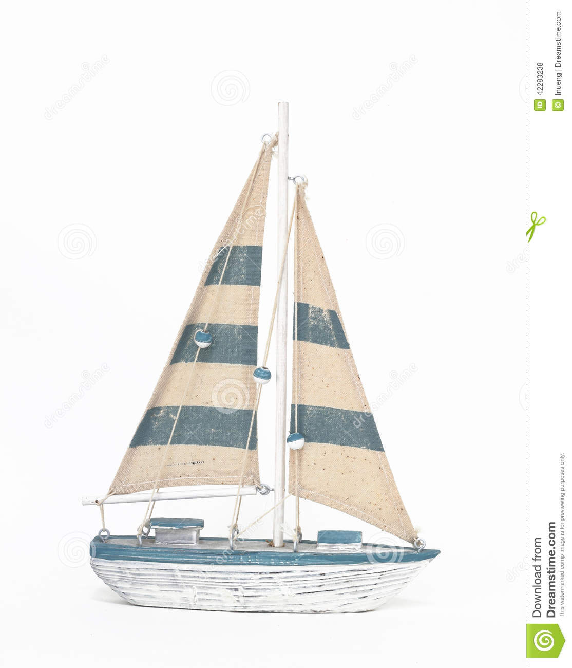 Wooden Toy Sailing Boat On White Background Stock Photo - Image of souvenir, object: 42283238