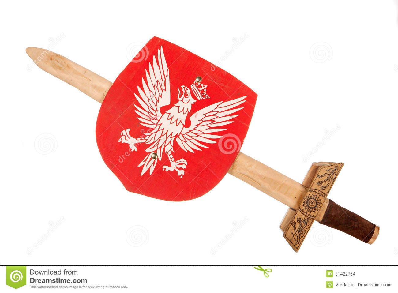 Wooden toy sword and shield with a coat of arms of Poland isolated ...