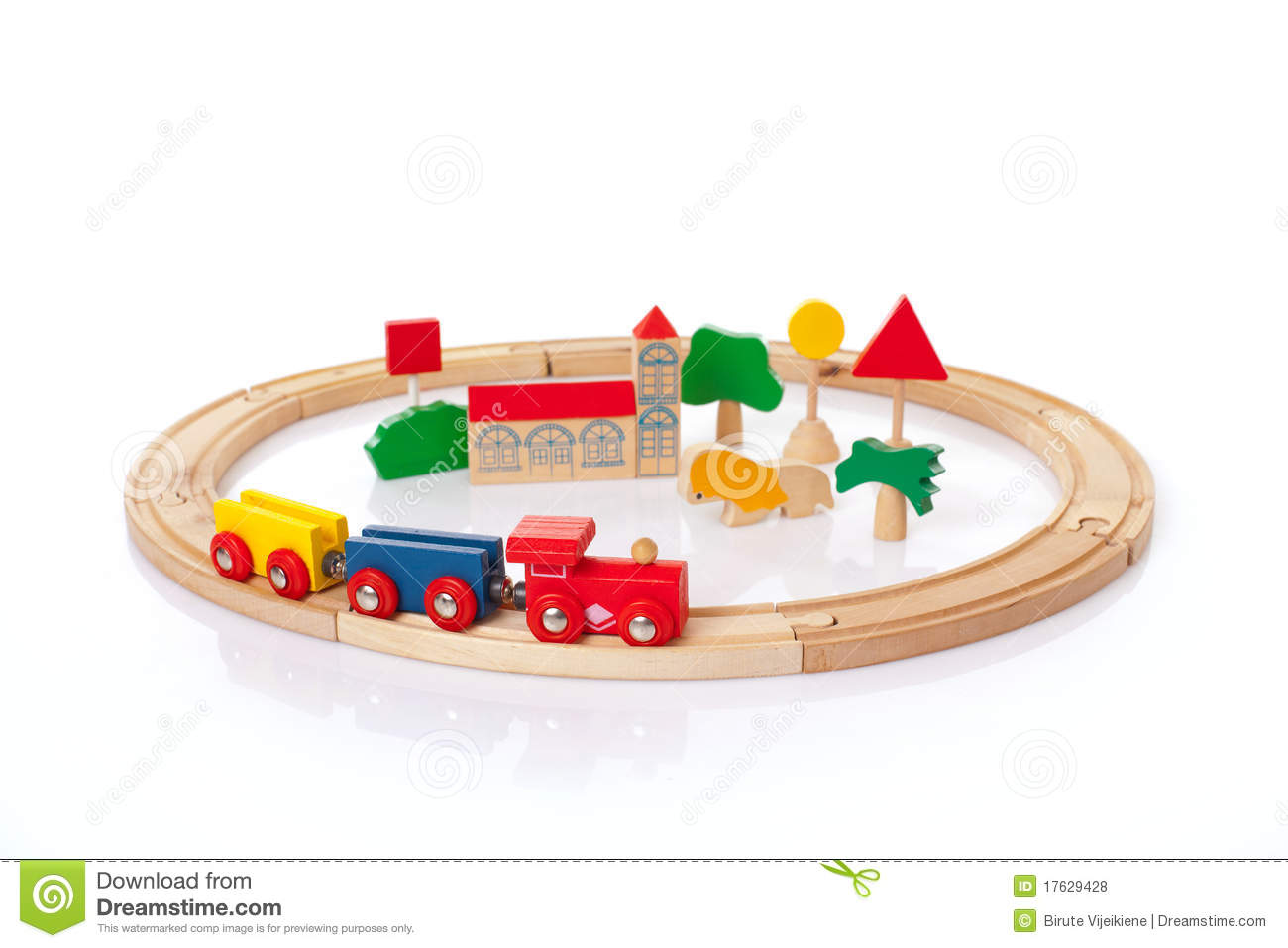 Wooden toy train on the white background.