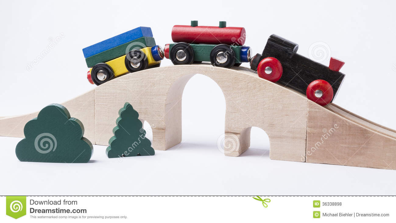 Wooden Toy Train On Bridge Royalty Free Stock Photos ...