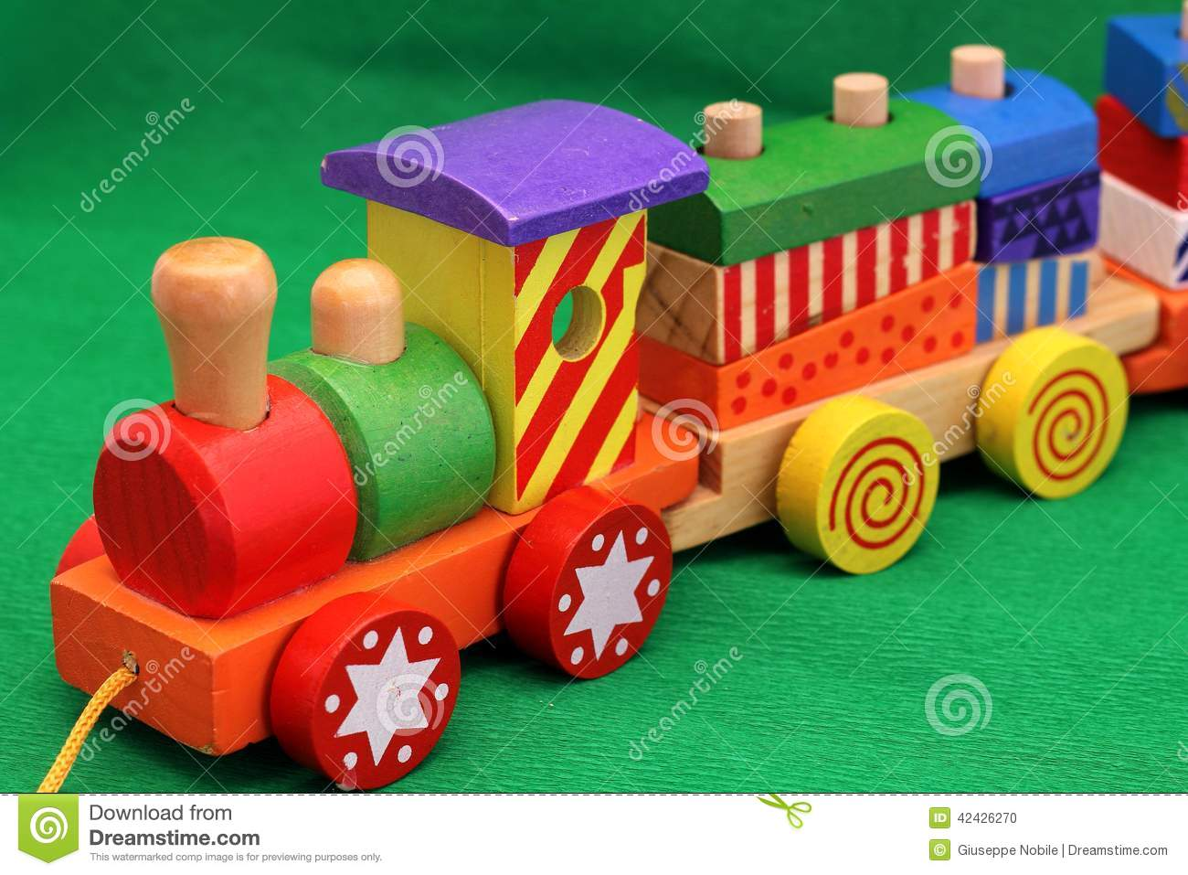 Old Time Toys And Games : Wooden toy train stock photo image