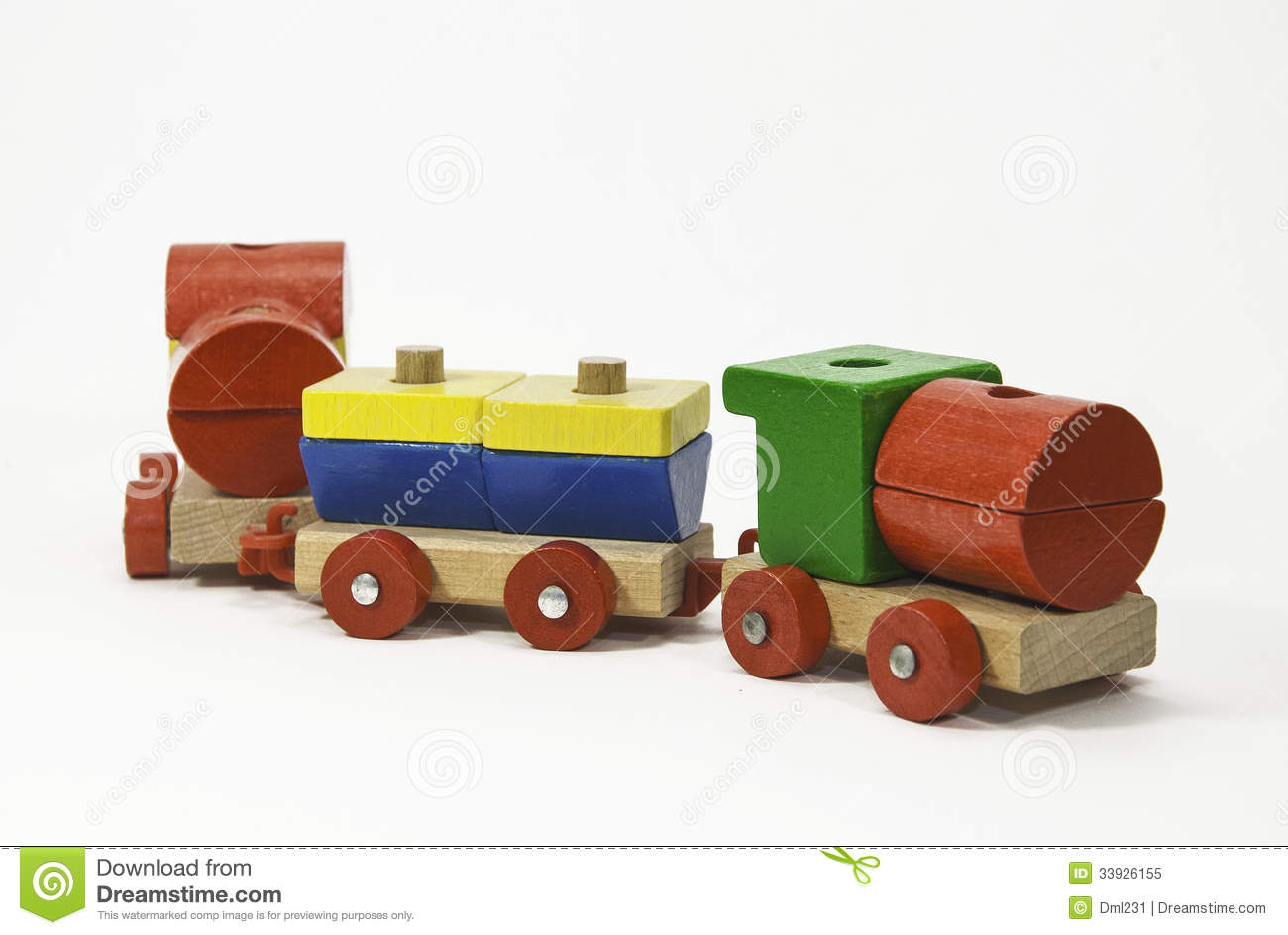 Wooden toy train painted in primary colors of red, green, blue, and ...