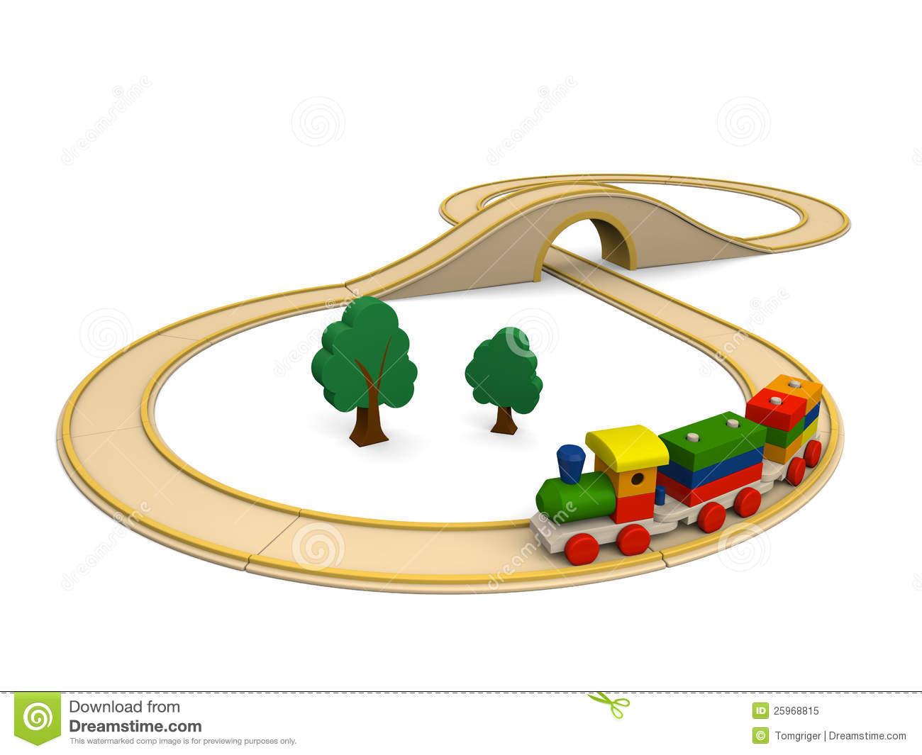 Wooden Toy Train With Track Stock Illustration Illustration Of
