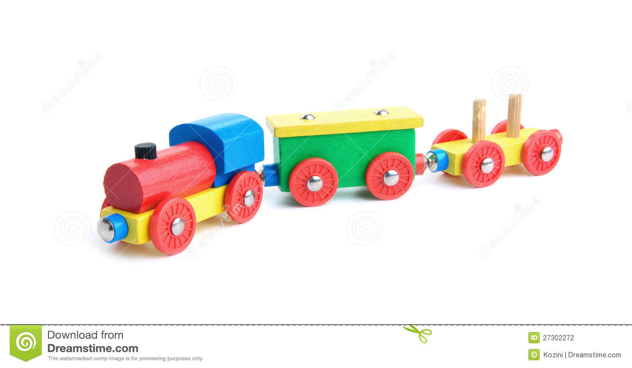 Wooden Toy Train On White Stock Photography - Image: 27302272