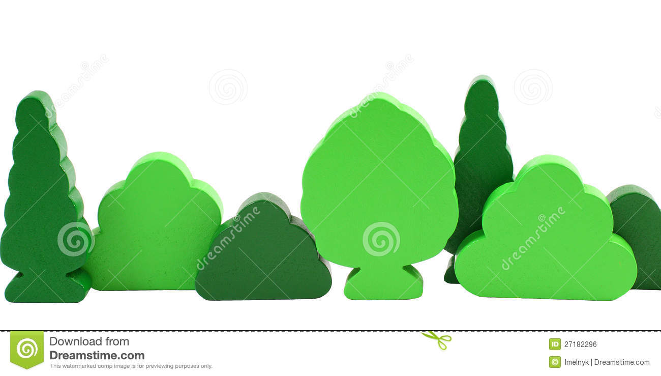 Wooden toy trees isolated on white