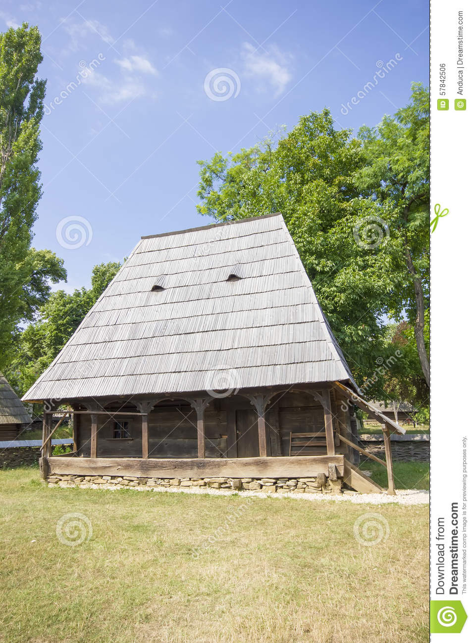 Wooden Traditional Romanian House Stock Photo Image