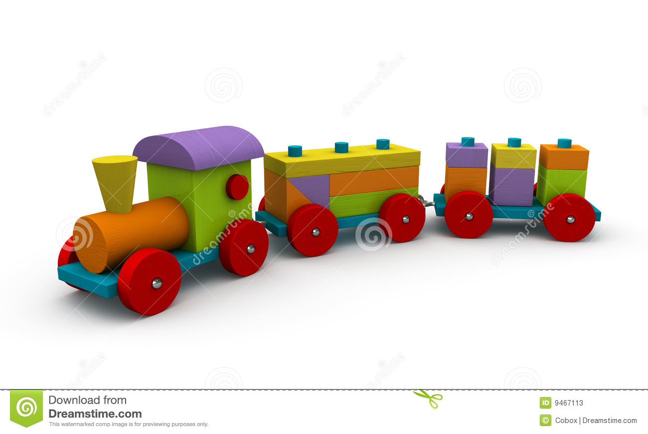 Classic wooden train on a white background.