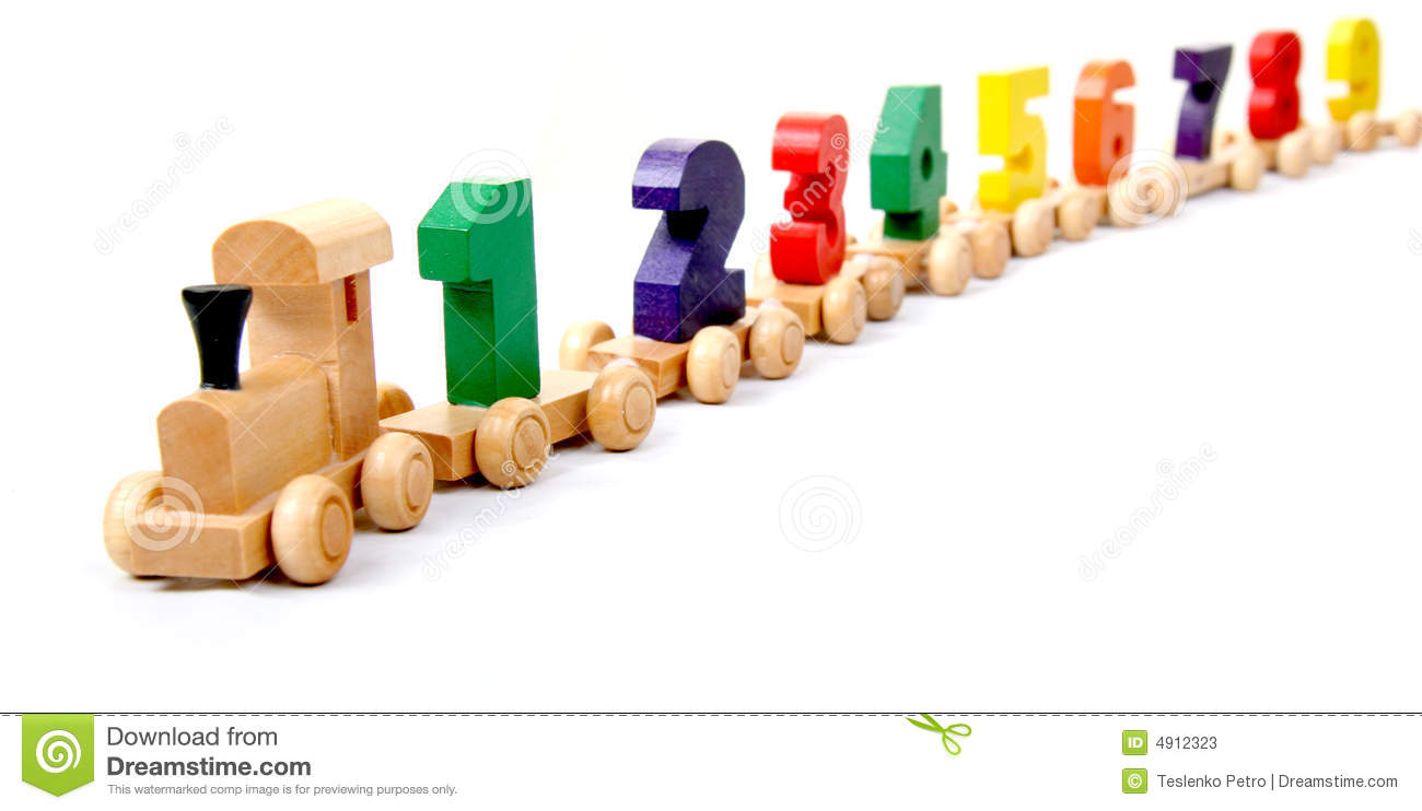 wooden train of numbers stock image. image of beginnings