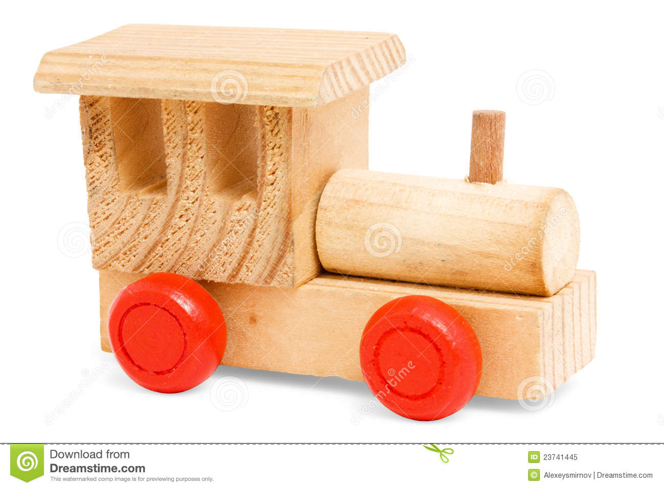 Wooden Train Toy With Red Wheels Royalty Free Stock Photo ...