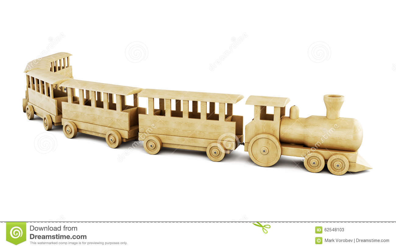 Wooden train on a white background. 3d.