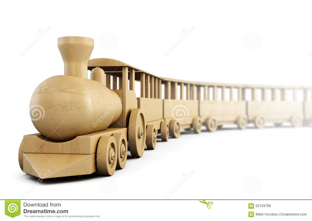 Wooden train on white background. 3d.