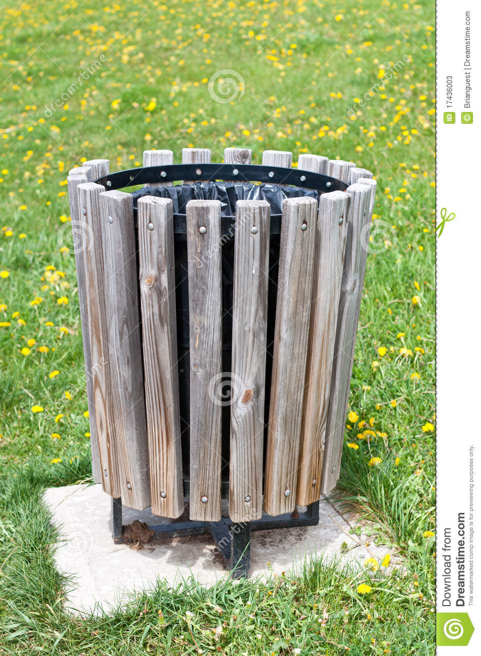 Wooden Trash Can In A Park Stock Image Image Of Color