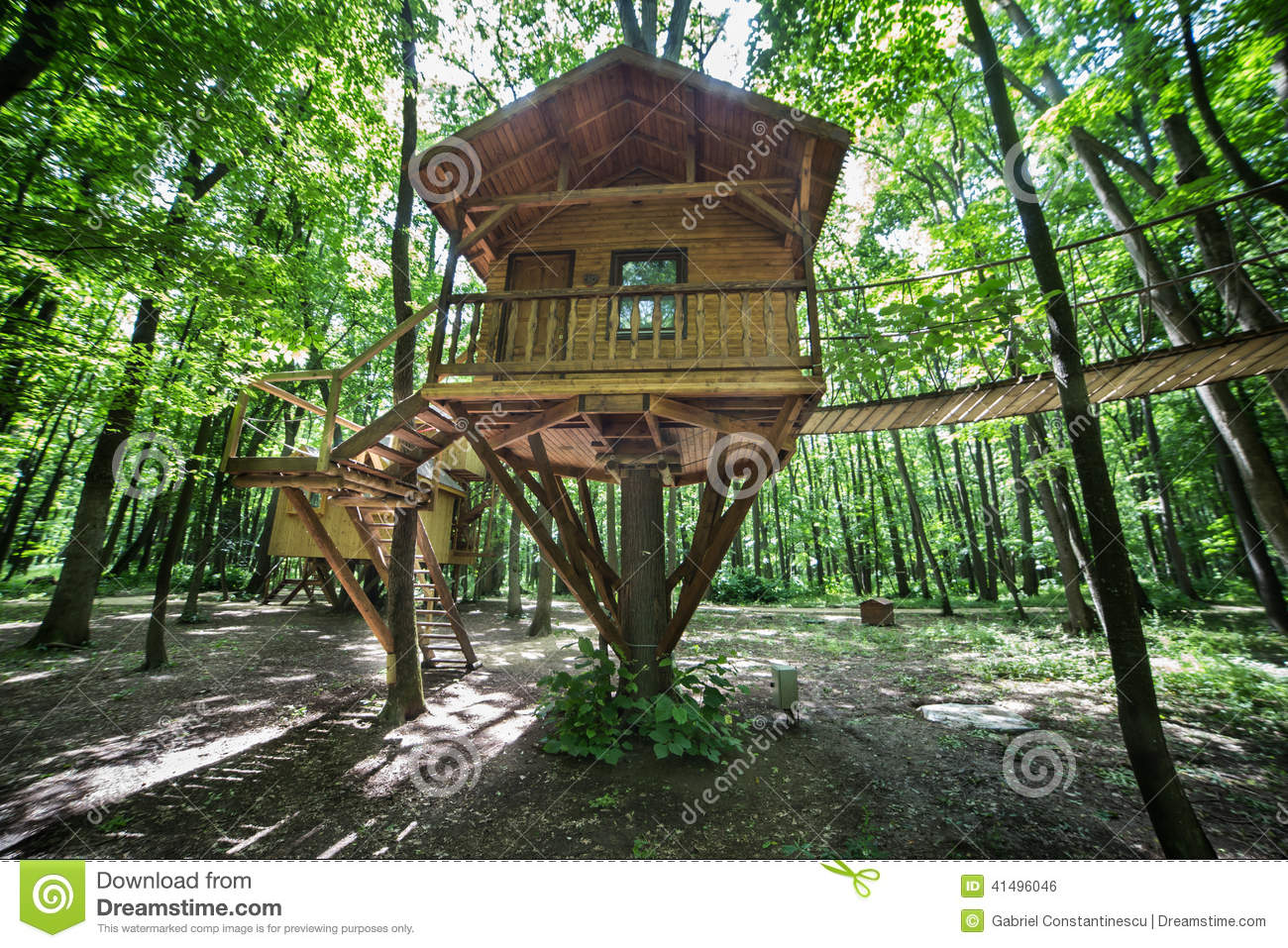 Wooden tree-house in nature park