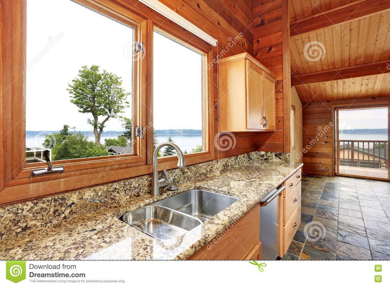Download Wooden Trim Home With Open Floor Plan. Kitchen With Granite Counter Top. Stock Photo - Image of bright, house: 77303890