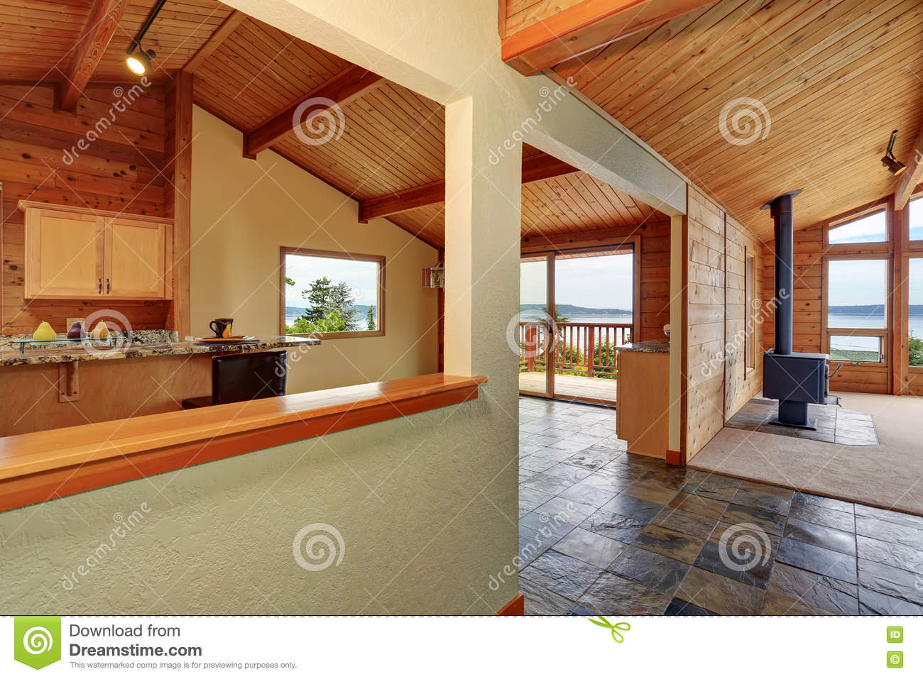 Download Wooden Trim Home With Open Floor Plan. Kitchen With Granite Counter Top. Stock Photo - Image of clean, refrigerator: 77304094