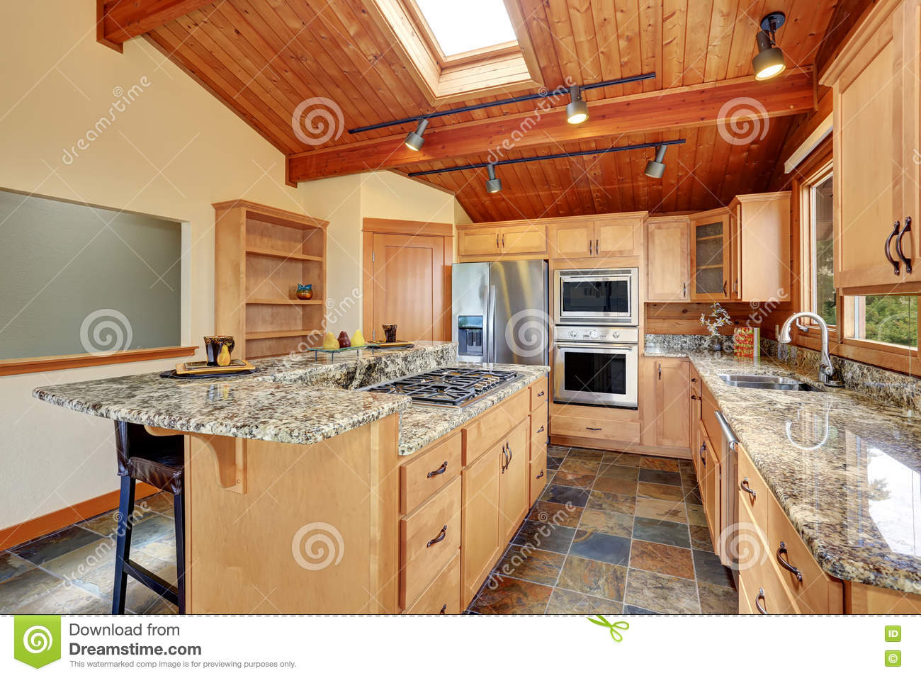 Download Wooden Trim Home With Open Floor Plan. Kitchen With Granite Counter Top. Stock Image - Image of home, furnished: 77303609