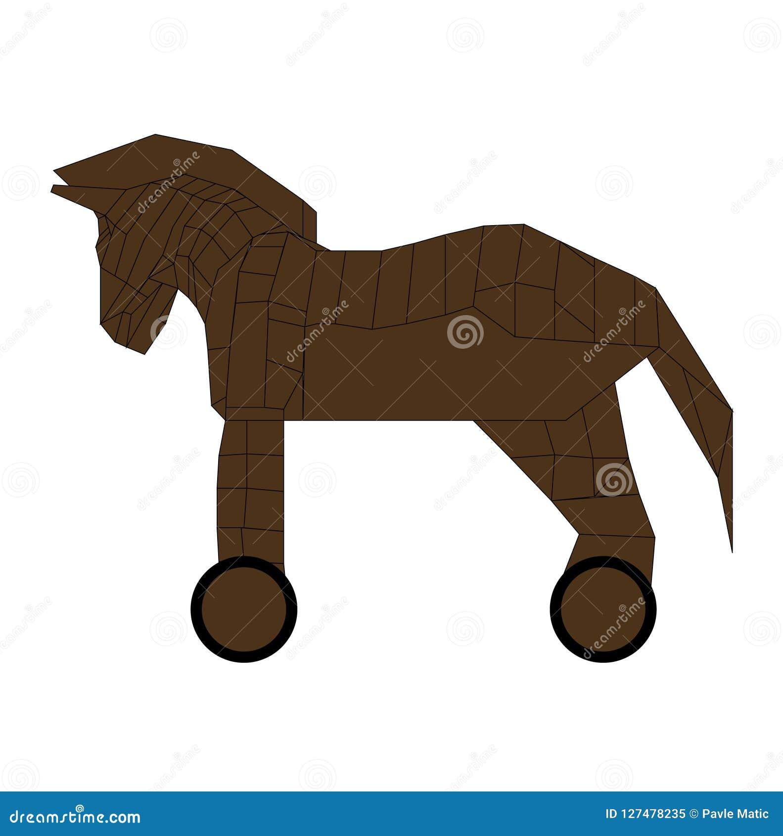 Wooden Trojan Horse Replica Cartoon Illustration Stock