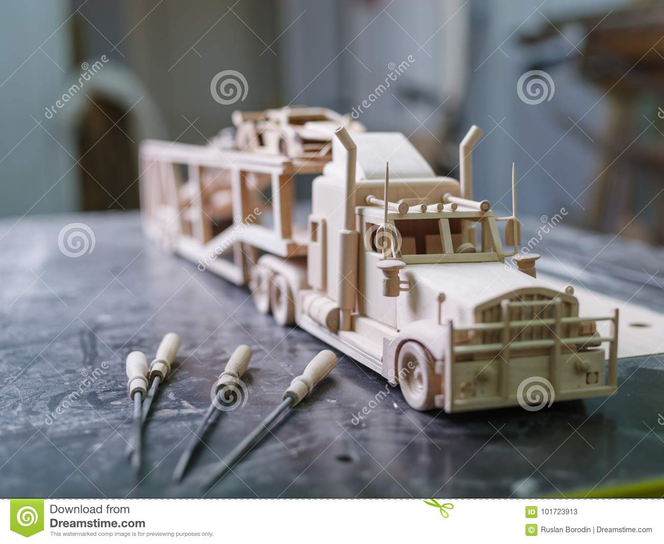 A wooden truck made on a special machine