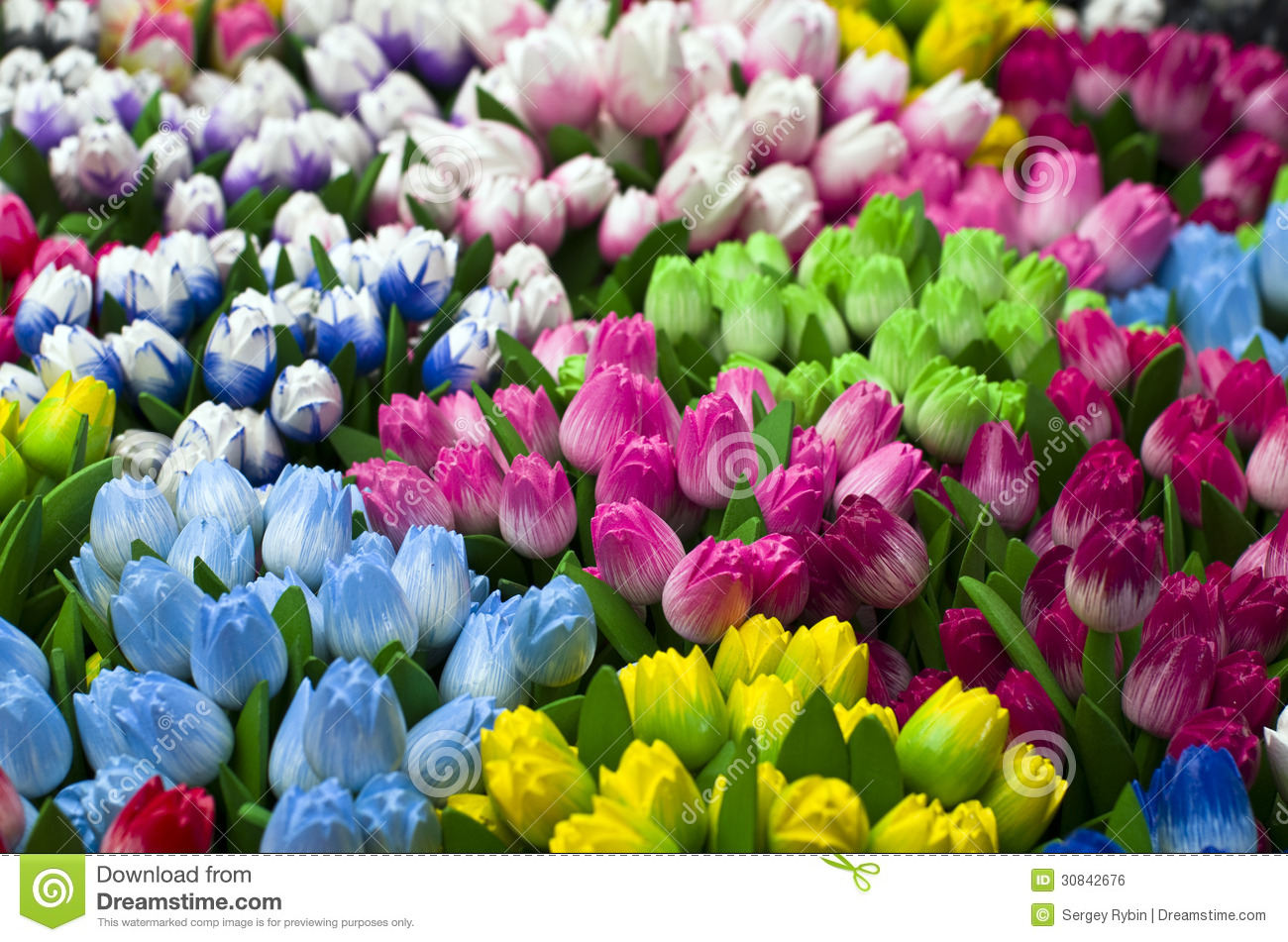 Wooden Tulips As At Tourist Souvenirs Royalty Free Stock